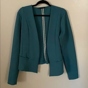 Cropped Teal Textured Blazer